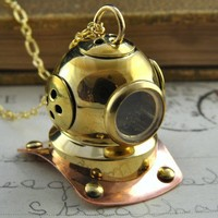 Let's Go Diving  Gold Steampunk Diving Helmet by pennymasquerade