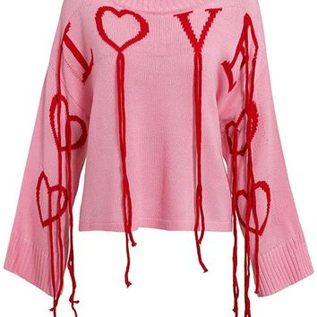 Lifetime Of Love Pink Red Long Sleeve Wide Neck Love Heart Fringe Tassel Pullover Sweater