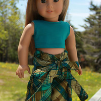 18 inch doll clothes plaid, Harem, dance, yoga pants with ties,  crop tank  top, american girl, maplelea