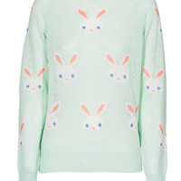 WILDFOX Snow Bunny Teal Strickpullover mit Motiv - What's new