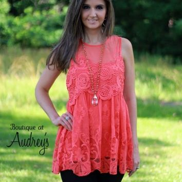 Entro Orange Lace Sleeveless Top with Crochet Detail - Boutique At Audrey's