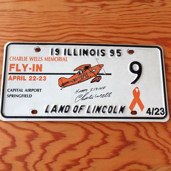 1995 Illinois Land of Lincoln Charlie Wells Memorial Fly-In Breakfast License Plate 9