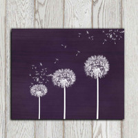 Dandelion printable Purple Dandelion Wall art Home decor print Bedroom wall decor Poster print Abstract flower Office decor INSTANT DOWNLOAD