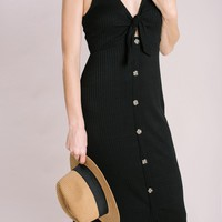 Karen Black Ribbed Button Midi Dress