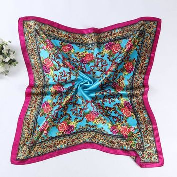 Fashion Square Scarf Chiffon Slik Shawl Women Floral Printed Beach Scarves Hijab Lady Summer Head Bandana Wrap Ponchos Bufanda