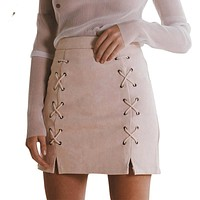 Womens Fashion Autumn Lace Leather Suede Pencil Skirt Zipper Split Bodycon Short Skirts