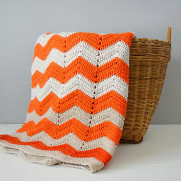 Vintage Afghan - Orange Home Decor - Chevron Afghan - Fall Home Decor - Chevron Blanket - Knitted Afghan - Orange Chevron Blanket - Rustic