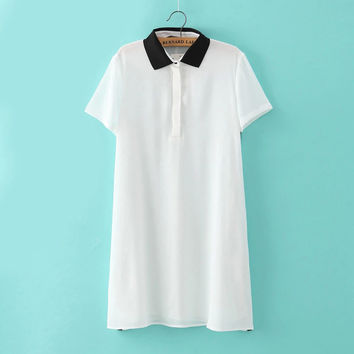 White And Black Collar Short-Sleeve Button-Up Dress Shirt