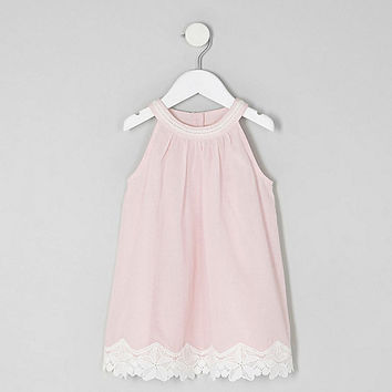 Mini girls pink lace hem trapeze dress - Baby Girls Dresses - Mini Girls - girls