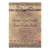 Rustic Country Vintage Burlap Wedding Invitations