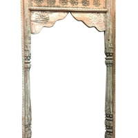 Antique Arch Wall Art Panel Mirror Frame Floral Carved Columns Arched Vintage Rustic Architectural Decor