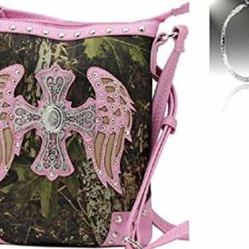 Camo Rhinestone Cross Angel Wings Body Messenger Bag Purse + Earrings Light Pink