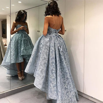 2017 Amazing Short Prom Dresses High Low Tea Length Formal Party Gowns Sweetheart Appliques Flowers Robe De Soiree EF69