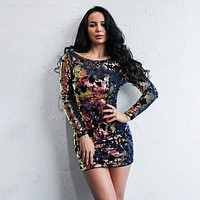 Multicolored Sequin Long Sleeve Dress
