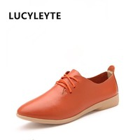 LUCYLEYTE  Split Leather Oxford Shoes For Women Pointed Toe Casual Nurse Shoes Autumn Flat With Leather Women Loafers Shoes