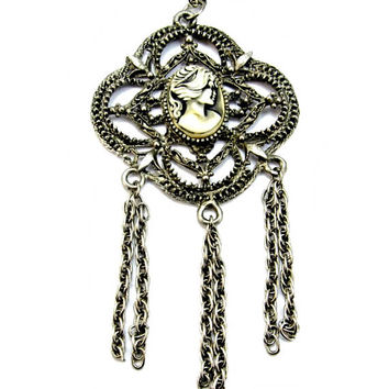 Large Cameo Pendant Necklace with Dangle Tassel Chains Silver Tone