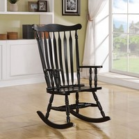A.M.B. Furniture & Design :: Rockers & Recliners :: Black finish wood turned post and slatted back with curved top rocking chair