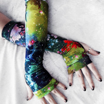 Galactic Garden Arm Warmers | Green Yellow Red Indigo Blue Teal Ochre Floral Galaxy Cotton | Yoga Gothic Boho Cycling Light Fae Stars Goth