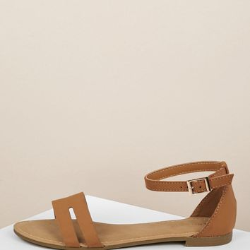 H Band Cut Out Ankle Strap Flat Sandals