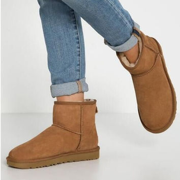 UGG Short boots antiskid warm lazy sheep fur ugg boots Chestnut