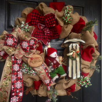 Christmas burlap wreath, Snowman Burlap Christmas wreath, front door wreath, Holiday wreath, Winter wreath, Snowman wreath