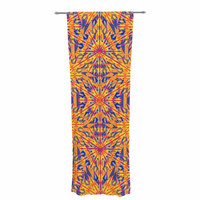 "Miranda Mol ""Azulejo Orange "" Orange Blue Decorative Sheer Curtain"