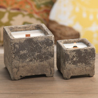 Rustique Cement Candle Jar with Wooden Wick