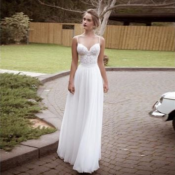 2016 Boho Beach Wedding Dresses Sexy Backless Spaghetti Lace Top Chiffon Wedding Gowns Vintage Cheap Long Bohemian Bridal Dress