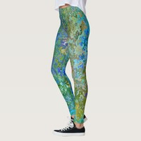 Abstract Paint Pattern / Green & Blue Leggings