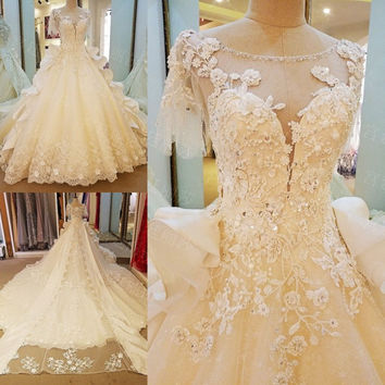 LS65789 lace wedding gown short sleeves corset back crystal ball gown luxury wedding dress with long tail  ivory real photos