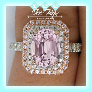 Cultured Pink Sapphire Engagement Ring 2.9ct  7 x 9mm Oval set in a 14k Rose and White Gold Double Diamond Halo  Setting