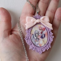 Sailor Moon Necklace -HELIOS  & CHIBI MOON - Pegasus and Chibusa -  Sailor Scout Jewelry