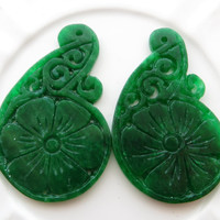 Carved jade pendants, green jade drops, two green jade pendants, pendant for earrings, necklace pendant, uk wholesale gemstone supplies