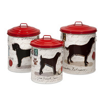 IMAX 44212-3 Dog Food Storage Canisters with Dog Images and Red lids, Set of Three
