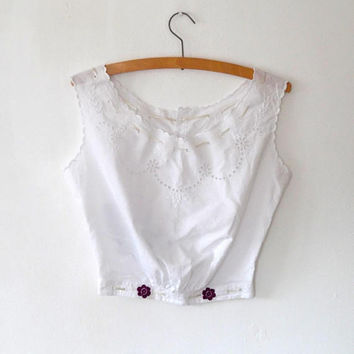 White antique embroidered cut out blouse / lace / scallop / butterfly / button / ribbon / floral / restored / OOAK / summer / vintage blouse