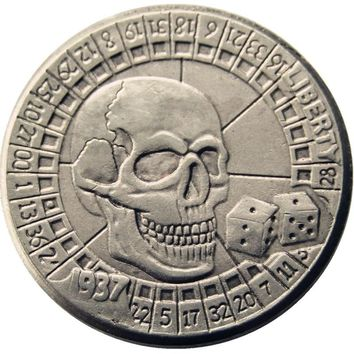 BU(14)Hobo Nickel 1937-D 3-Legged Buffalo Nickel Rare Creative Funny skull zombie skeleton Copy Coin