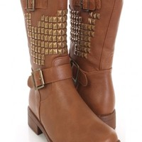 Tan Faux Leather Studded Strapped Combat Boots