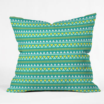 Allyson Johnson Teal And Yellow Aztec Throw Pillow