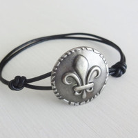 Fleur De Lis Bracelet, Antique Silver, Genuine Leather Cord, Leather Bracelet, Paris, France, Parisienne Jewelry, Many Cord Colors Available