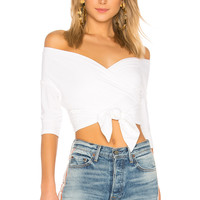 T by Alexander Wang Double Layer Wrap Top in White