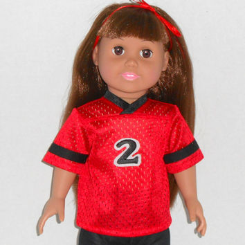 18 inch Girl or Boy Doll Red and Black Football Jersey fits American Girl Doll