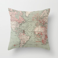 Vintage Map of The World (1918) Throw Pillow by BravuraMedia | Society6