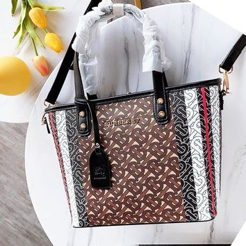Burberry fashion fully printed color lady casual hand bill of lading shoulder bag