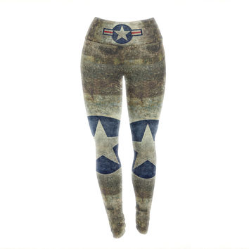"Bruce Stanfield ""USAF Vintage Retro Style Round"" Vintage Digital Yoga Leggings"