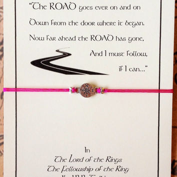 Tolkien Inspired Bracelet with Compass Charm | Lord of the Rings | The Road Goes Ever On | Quote Bracelet | Tolkien Gift