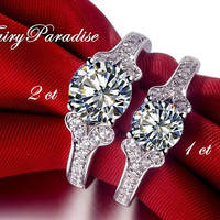 Vintage Style 1 Ct Round Cut  Lab Made Diamond Engagement / Promise Ring, Anniversary Rings, Pave Split Shank  ( Fairy Paradise)