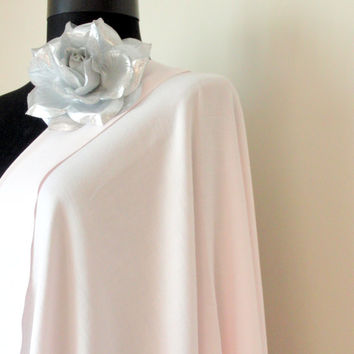 Light Pink Shawl, Misty Rose Solid Color Pashmina, Cashmere Silk Scarf, Elegant  Wrap Bridesmaid Gift, Wedding Shawl, Removable  Brooch Pin