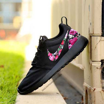 Custom TRIPLE BLACK Floral Roses Nike Roshe Run Shoes Fabric Pattern Men's Women's Birthday Present, Perfect Gift, Customized Nike Shoes