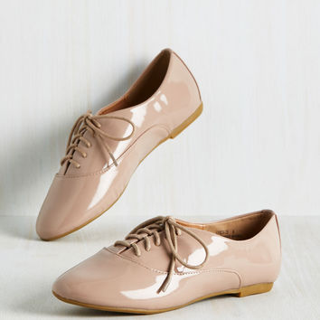 Glossed but Not Least Flat in Taupe | Mod Retro Vintage Flats | ModCloth.com