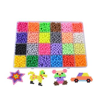 24 Colors Aqua Beads Puzzles Toys Set Educational Kids Toys Hama Beads Perler Beads Tangram Jigsaw Aquabeads Perlen 3d Puzzle